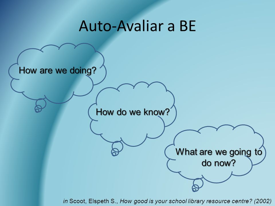 Auto-Avaliar a BE How are we doing? How do we know? What are we going to do now? in Scoot, Elspeth S., How good is your school library resource centre