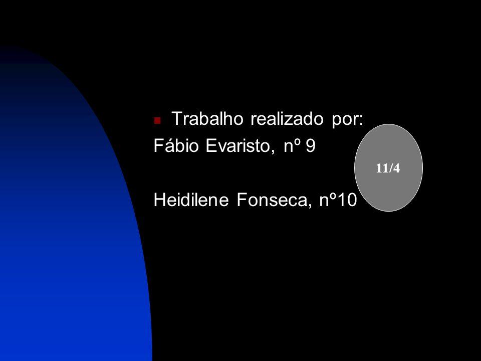 Trabalho realizado por: Fábio Evaristo, nº 9 Heidilene Fonseca, nº10 11/4