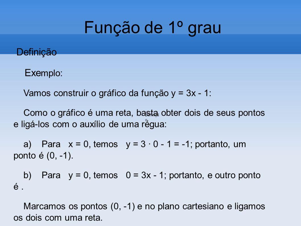 Função de 1º grau Definição Exe mplo: Vamos construir o gráfico da função y = 3x - 1: Como o gráfico é uma reta, basta obter dois de seus pontos e lig