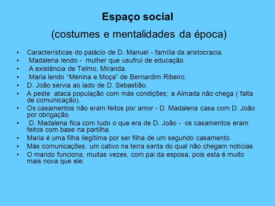 Espaço social (costumes e mentalidades da época) Características do palácio de D. Manuel - família da aristocracia. Madalena lendo - mulher que usufru