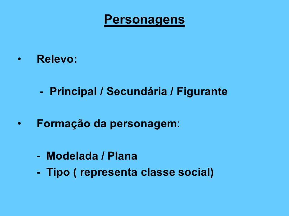 Personagens Relevo: - Principal / Secundária / Figurante Formação da personagem: -Modelada / Plana -Tipo ( representa classe social)