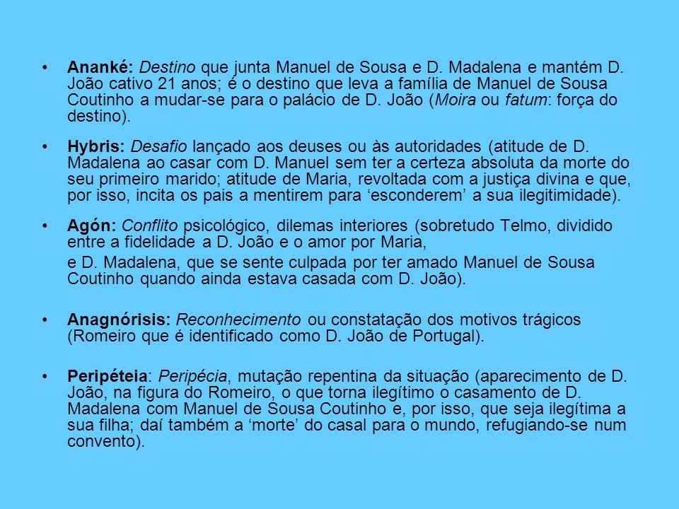 Ananké: Destino que junta Manuel de Sousa e D. Madalena e mantém D. João cativo 21 anos; é o destino que leva a família de Manuel de Sousa Coutinho a