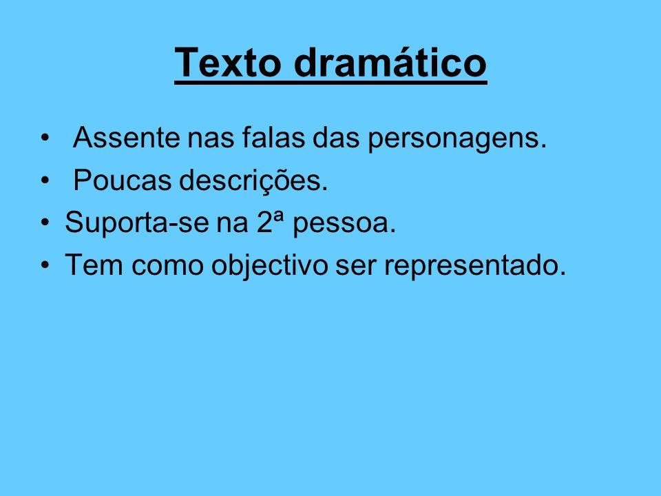 Texto dramático Assente nas falas das personagens. Poucas descrições. Suporta-se na 2ª pessoa. Tem como objectivo ser representado.