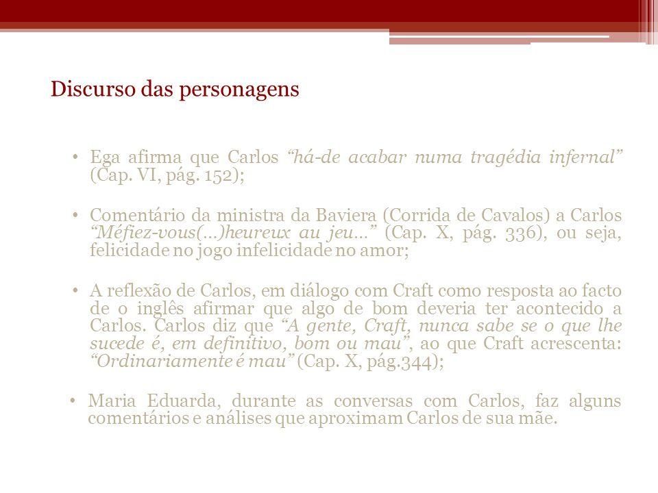 Discurso das personagens Ega afirma que Carlos há-de acabar numa tragédia infernal (Cap. VI, pág. 152); Comentário da ministra da Baviera (Corrida de