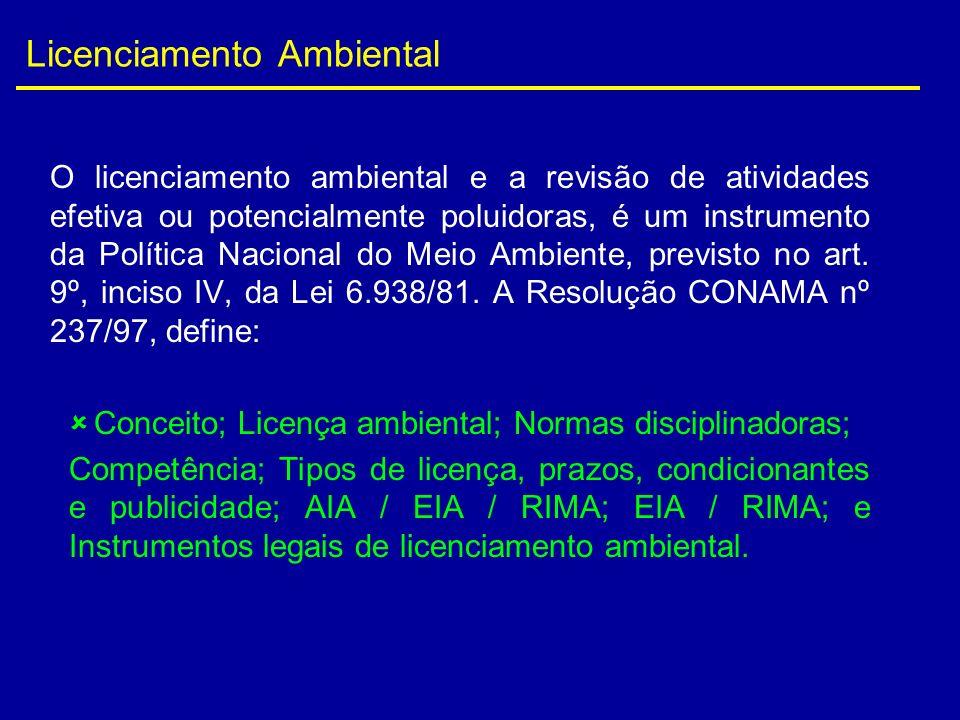 Licenciamento Ambiental O licenciamento ambiental e a revisão de atividades efetiva ou potencialmente poluidoras, é um instrumento da Política Naciona