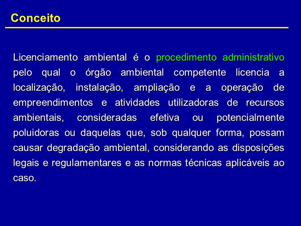 Conceito Licenciamento ambiental é o procedimento administrativo pelo qual o órgão ambiental competente licencia a localização, instalação, ampliação