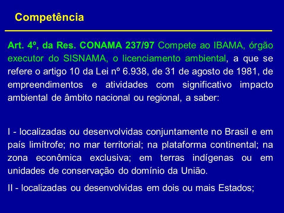 Art. 4º, da Res. CONAMA 237/97 Compete ao IBAMA, órgão executor do SISNAMA, o licenciamento ambiental, a que se refere o artigo 10 da Lei nº 6.938, de