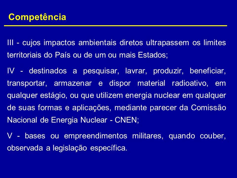 III - cujos impactos ambientais diretos ultrapassem os limites territoriais do País ou de um ou mais Estados; IV - destinados a pesquisar, lavrar, pro