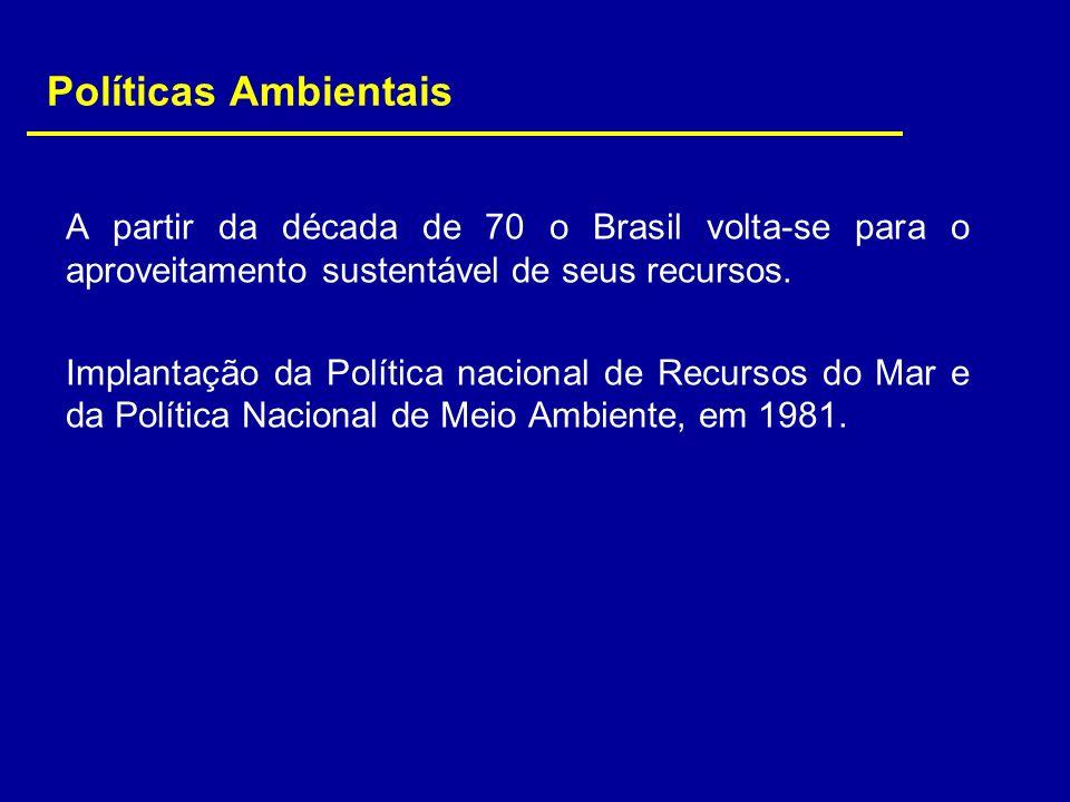 Políticas Ambientais A partir da década de 70 o Brasil volta-se para o aproveitamento sustentável de seus recursos. Implantação da Política nacional d