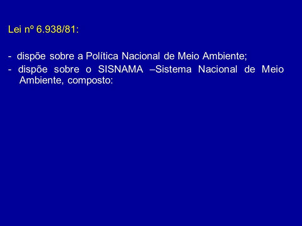 Lei nº 6.938/81: - dispõe sobre a Política Nacional de Meio Ambiente; - dispõe sobre o SISNAMA –Sistema Nacional de Meio Ambiente, composto: