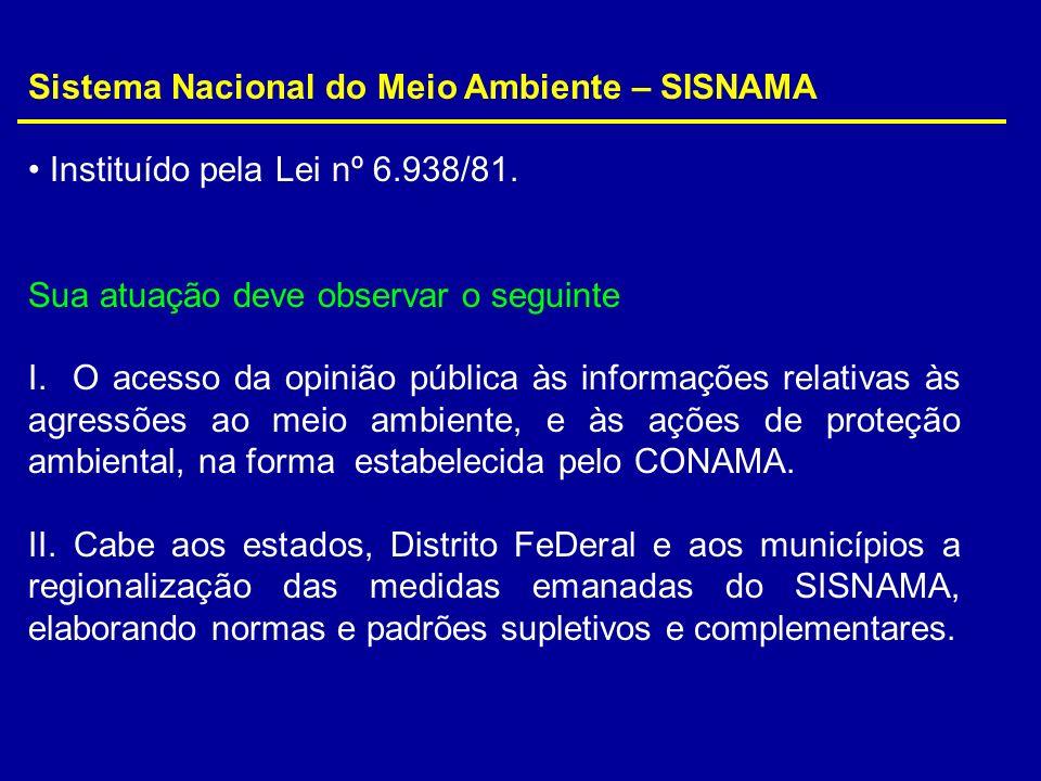 Sistema Nacional do Meio Ambiente – SISNAMA Instituído pela Lei nº 6.938/81. Sua atuação deve observar o seguinte I. O acesso da opinião pública às in