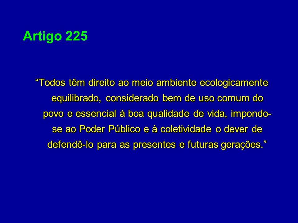 Artigo 225 Todos têm direito ao meio ambiente ecologicamente equilibrado, considerado bem de uso comum do povo e essencial à boa qualidade de vida, im
