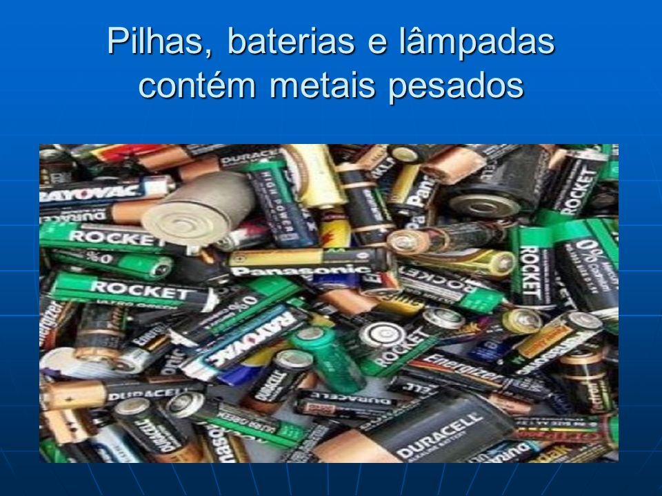 Efeitos dos metais pesados MetalChumbo (Pb)Mercúrio (Hg)Cádmio (Cd) Efeito na saúde Provoca alterações no sangue e na urina, ocasionando doenças graves e em alguns casos, invalidez total e irreversível.