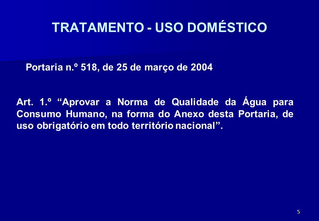6 TRATAMENTO - USO DOMÉSTICO Portaria n.º 518, de 25 de março de 2004 Art.