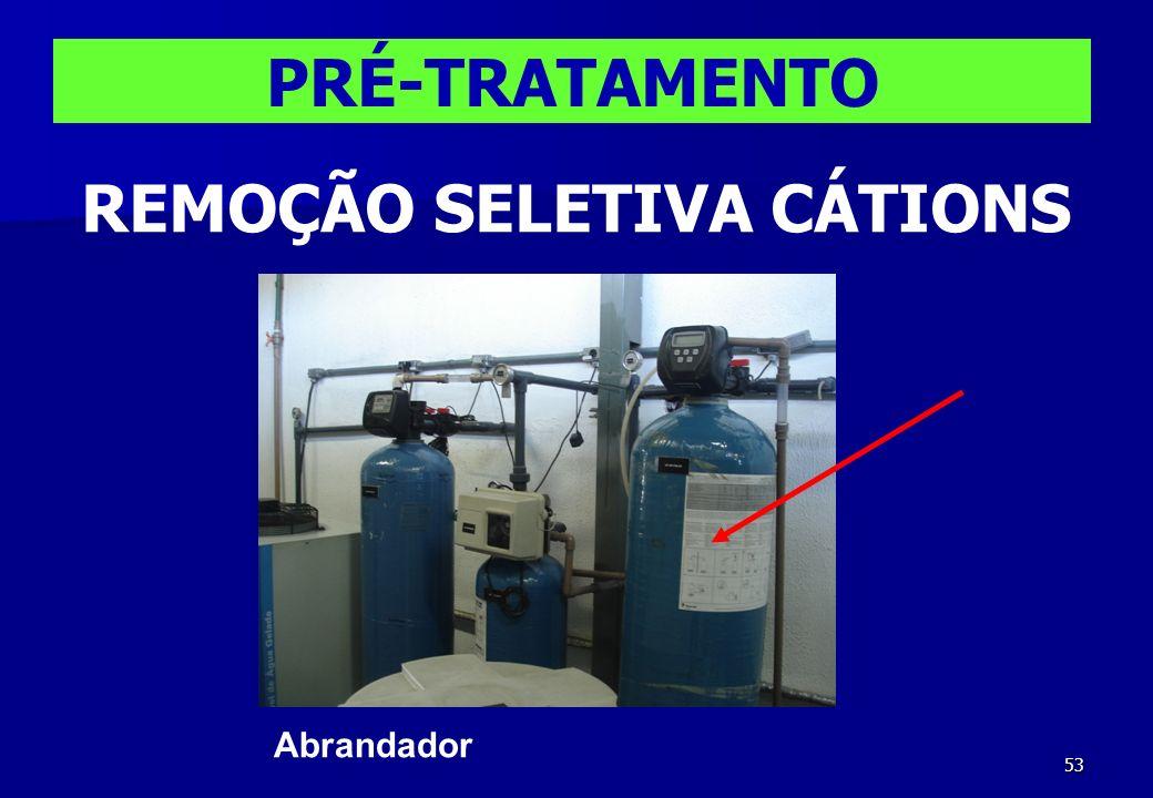 53 Abrandador PRÉ-TRATAMENTO REMOÇÃO SELETIVA CÁTIONS