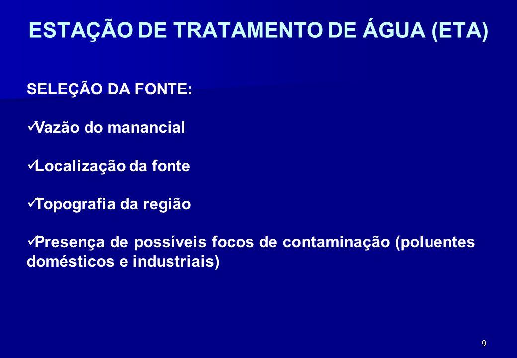 10 CAPTAÇÃO Superficial - rios, lagos ou represas, por gravidade ou bombeamento.