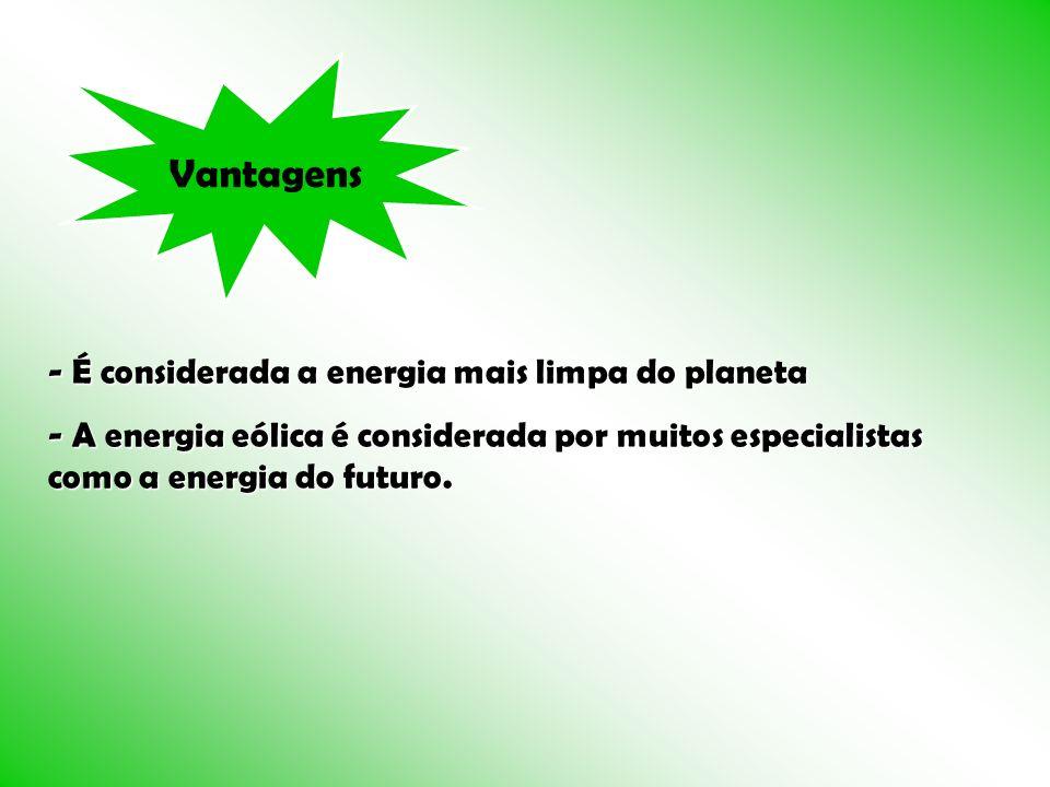 Vantagens - É considerada a energia mais limpa do planeta - A energia eólica é considerada por muitos especialistas como a energia do futuro.