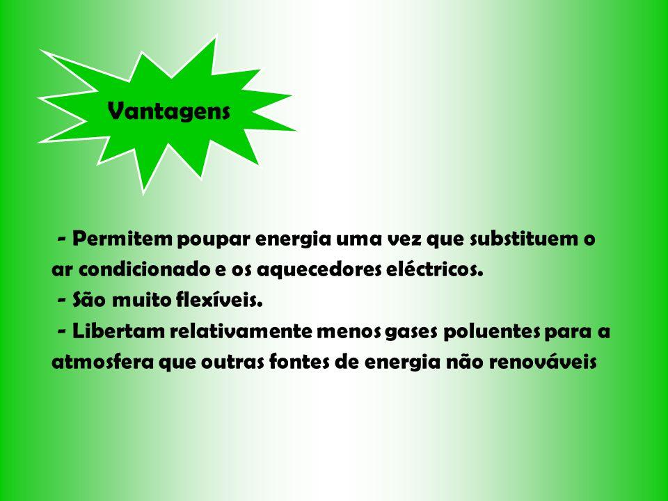 Vantagens - Permitem poupar energia uma vez que substituem o ar condicionado e os aquecedores eléctricos. - São muito flexíveis. - Libertam relativame
