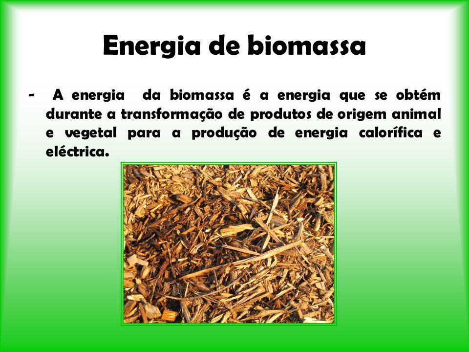 Energia de biomassa - A energia da biomassa é a energia que se obtém durante a transformação de produtos de origem animal e vegetal para a produção de