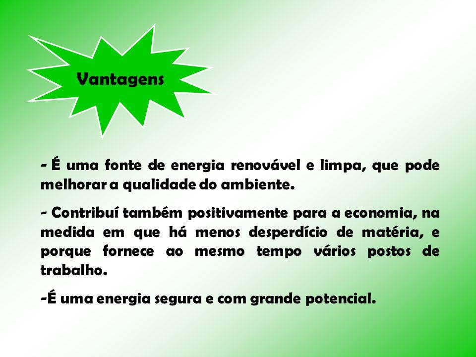 Vantagens - É uma fonte de energia renovável e limpa, que pode melhorar a qualidade do ambiente. - Contribuí também positivamente para a economia, na