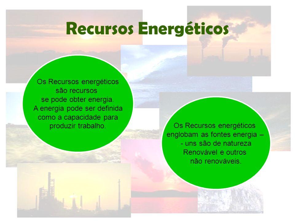 Recursos Energéticos Os Recursos energéticos são recursos se pode obter energia. A energia pode ser definida como a capacidade para produzir trabalho.