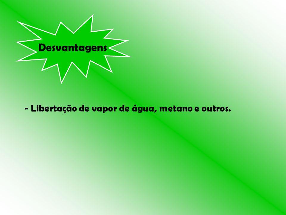 Desvantagens - Libertação de vapor de água, metano e outros.