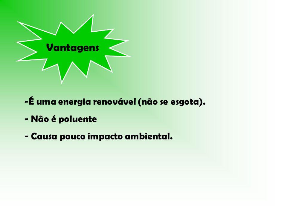 Vantagens -É uma energia renovável (não se esgota). - Não é poluente - Causa pouco impacto ambiental.