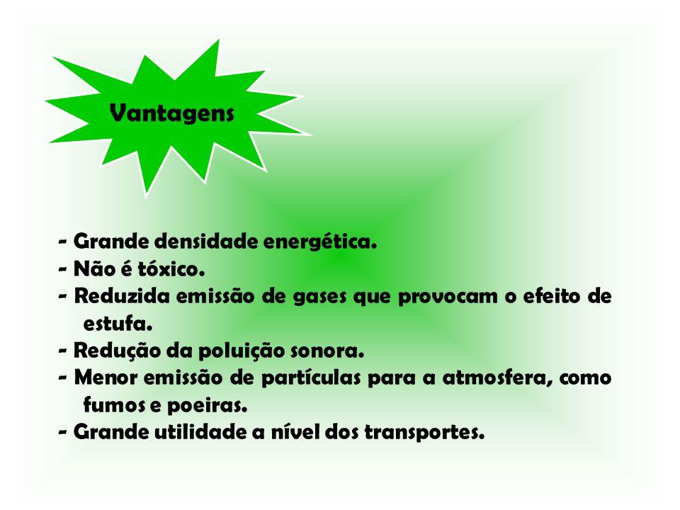 Vantagens - Grande densidade energética. - Não é tóxico. - Reduzida emissão de gases que provocam o efeito de estufa. - Redução da poluição sonora. -