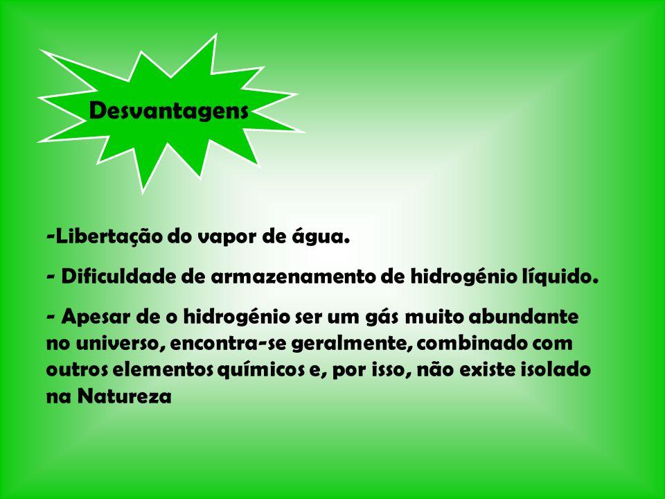 Desvantagens -Libertação do vapor de água. - Dificuldade de armazenamento de hidrogénio líquido. - Apesar de o hidrogénio ser um gás muito abundante n