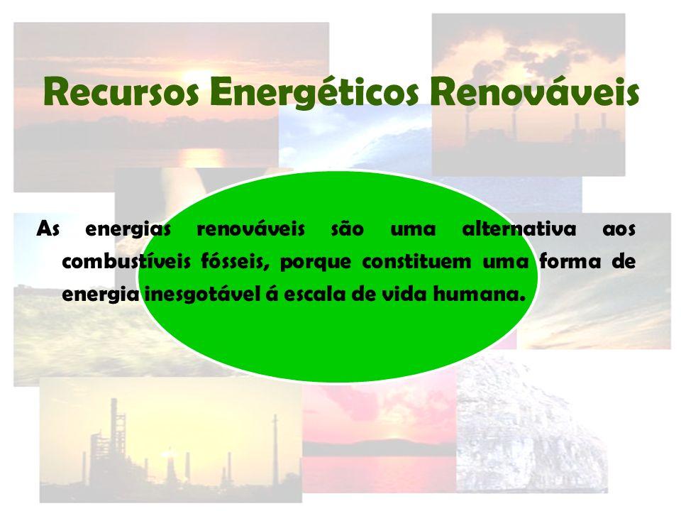 Recursos Energéticos Renováveis As energias renováveis são uma alternativa aos combustíveis fósseis, porque constituem uma forma de energia inesgotáve