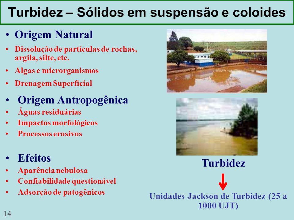 14 Turbidez – Sólidos em suspensão e coloides Origem Natural Dissolução de partículas de rochas, argila, silte, etc. Algas e microrganismos Drenagem S