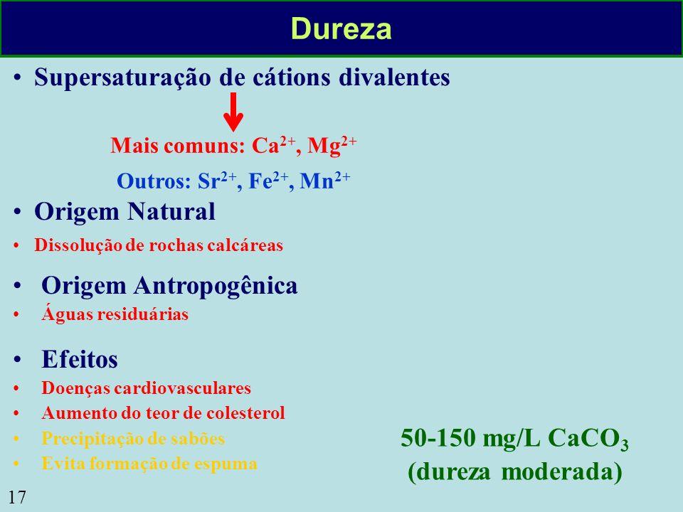 17 Dureza Origem Natural Dissolução de rochas calcáreas Origem Antropogênica Águas residuárias Supersaturação de cátions divalentes Mais comuns: Ca 2+