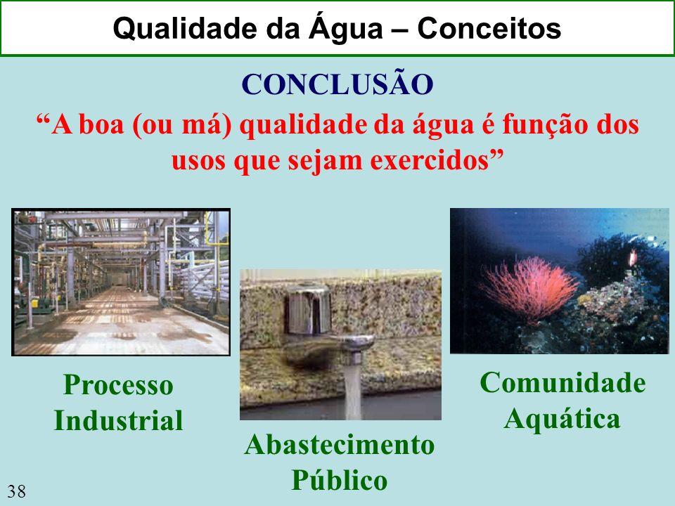 38 Qualidade da Água – Conceitos CONCLUSÃO A boa (ou má) qualidade da água é função dos usos que sejam exercidos Processo Industrial Comunidade Aquáti