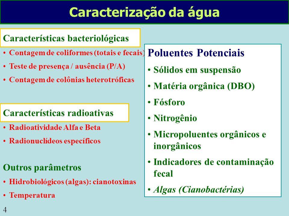 4 Características bacteriológicas Contagem de coliformes (totais e fecais) Teste de presença / ausência (P/A) Contagem de colônias heterotróficas Cara