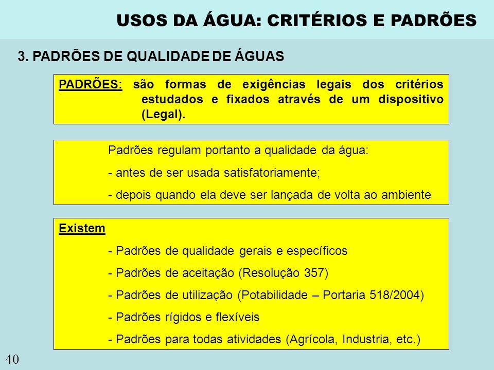 40 USOS DA ÁGUA: CRITÉRIOS E PADRÕES PADRÕES: são formas de exigências legais dos critérios estudados e fixados através de um dispositivo (Legal). Pad