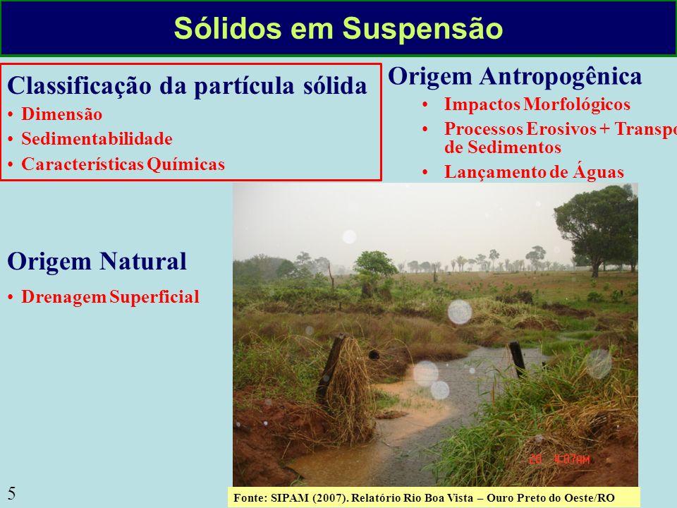 5 Sólidos em Suspensão Classificação da partícula sólida Dimensão Sedimentabilidade Características Químicas Origem Antropogênica Impactos Morfológico