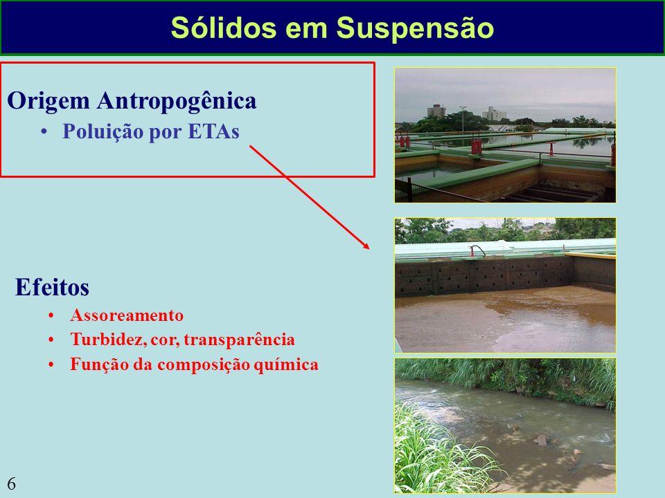 6 Sólidos em Suspensão Origem Antropogênica Poluição por ETAs Efeitos Assoreamento Turbidez, cor, transparência Função da composição química