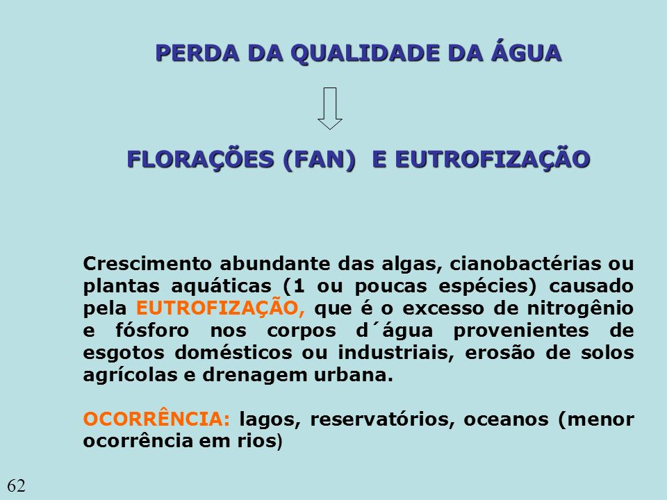 62 PERDA DA QUALIDADE DA ÁGUA FLORAÇÕES (FAN) E EUTROFIZAÇÃO Crescimento abundante das algas, cianobactérias ou plantas aquáticas (1 ou poucas espécie