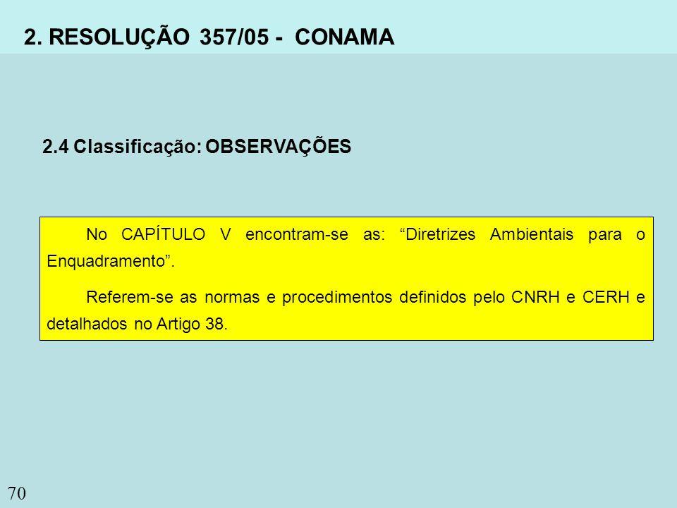 70 2. RESOLUÇÃO 357/05 - CONAMA 2.4 Classificação: OBSERVAÇÕES No CAPÍTULO V encontram-se as: Diretrizes Ambientais para o Enquadramento. Referem-se a
