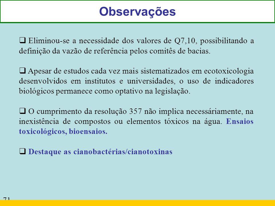 71 Observações Eliminou-se a necessidade dos valores de Q7,10, possibilitando a definição da vazão de referência pelos comitês de bacias. Apesar de es