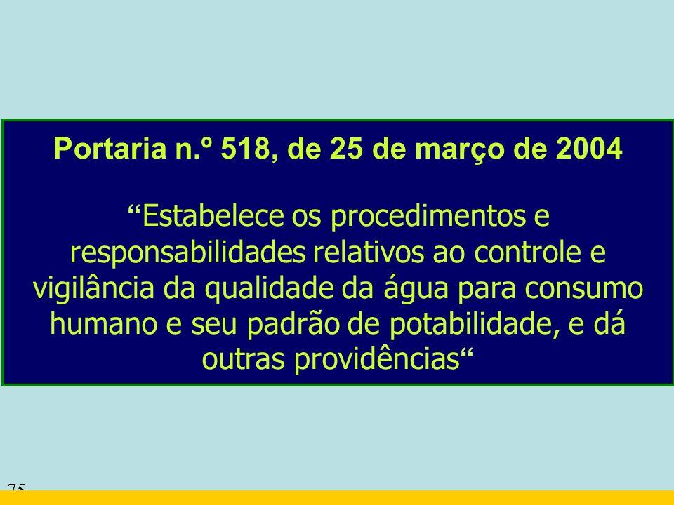 75 Portaria n.º 518, de 25 de março de 2004 Estabelece os procedimentos e responsabilidades relativos ao controle e vigilância da qualidade da água pa