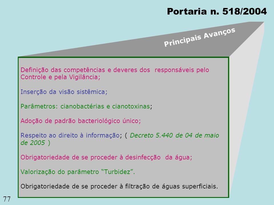 77 Definição das competências e deveres dos responsáveis pelo Controle e pela Vigilância; Inserção da visão sistêmica; Parâmetros: cianobactérias e ci