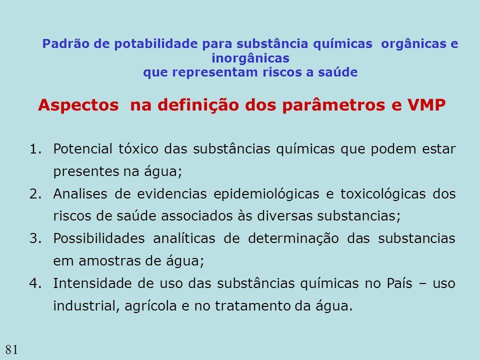 81 Aspectos na definição dos parâmetros e VMP 1.Potencial tóxico das substâncias químicas que podem estar presentes na água; 2.Analises de evidencias