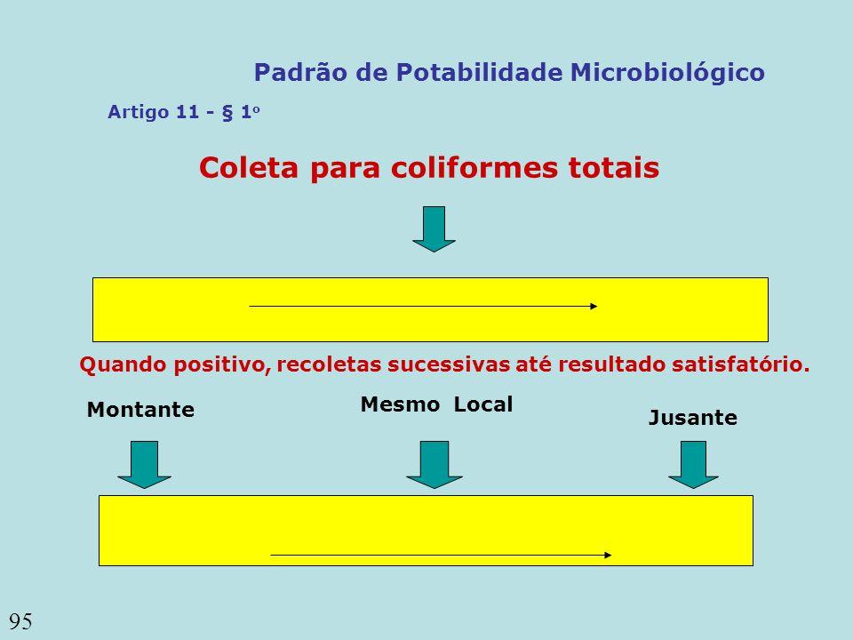 95 Coleta para coliformes totais Mesmo Local Montante Jusante Quando positivo, recoletas sucessivas até resultado satisfatório. Artigo 11 - § 1 o Padr