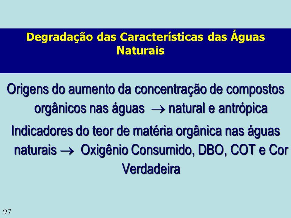 97 Degradação das Características das Águas Naturais Origens do aumento da concentração de compostos orgânicos nas águas natural e antrópica Indicador