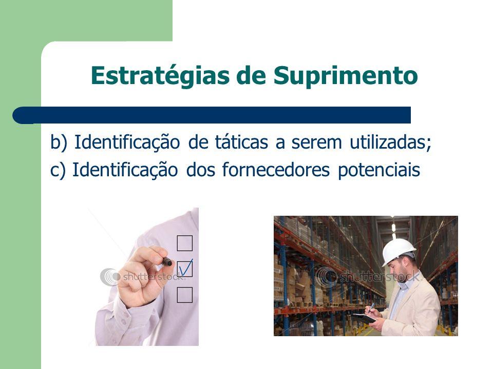 Estratégias de Suprimento b) Identificação de táticas a serem utilizadas; c) Identificação dos fornecedores potenciais