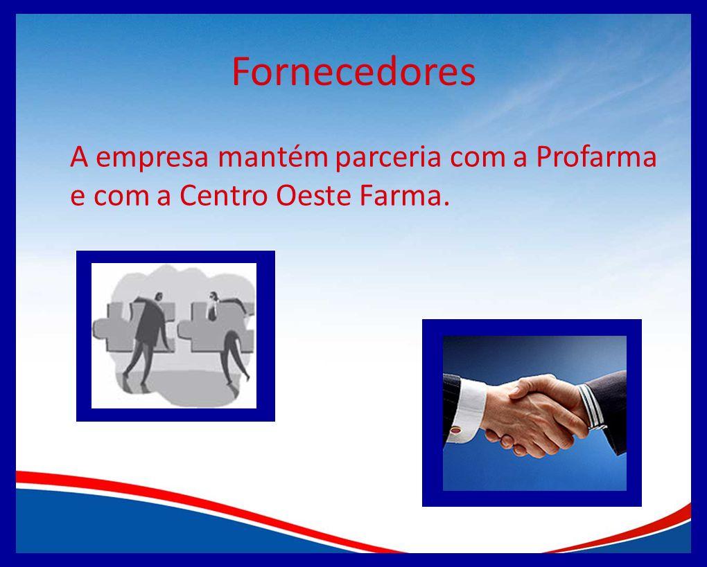Fornecedores A empresa mantém parceria com a Profarma e com a Centro Oeste Farma.
