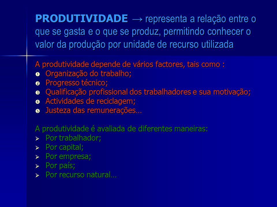 PRODUTIVIDADE representa a relação entre o que se gasta e o que se produz, permitindo conhecer o valor da produção por unidade de recurso utilizada A