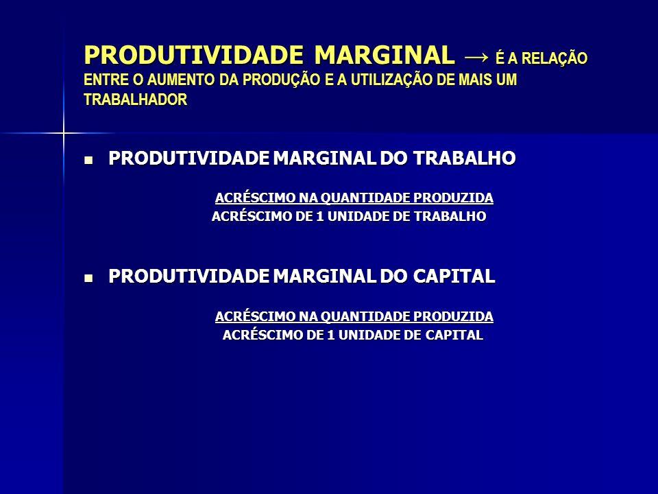 PRODUTIVIDADE MARGINAL É A RELAÇÃO ENTRE O AUMENTO DA PRODUÇÃO E A UTILIZAÇÃO DE MAIS UM TRABALHADOR PRODUTIVIDADE MARGINAL DO TRABALHO PRODUTIVIDADE