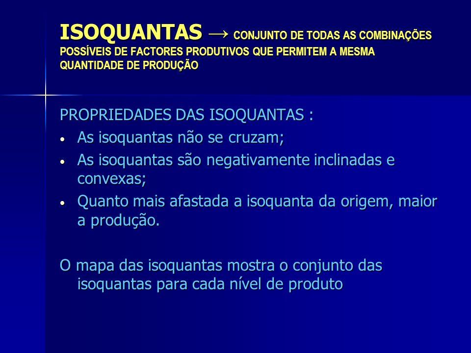 ISOQUANTAS CONJUNTO DE TODAS AS COMBINAÇÕES POSSÍVEIS DE FACTORES PRODUTIVOS QUE PERMITEM A MESMA QUANTIDADE DE PRODUÇÃO PROPRIEDADES DAS ISOQUANTAS :